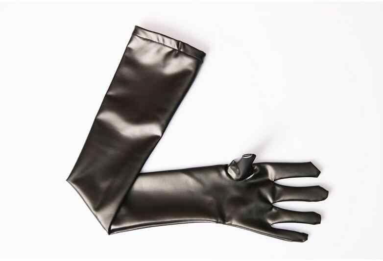 Kobiety Sexy Faux skórzane błyszczące długie lateksowa rękawiczka Punk rękawice strój rękawiczki sukienka do klubu Cosplay kostiumy akcesoria Plus rozmiar F27