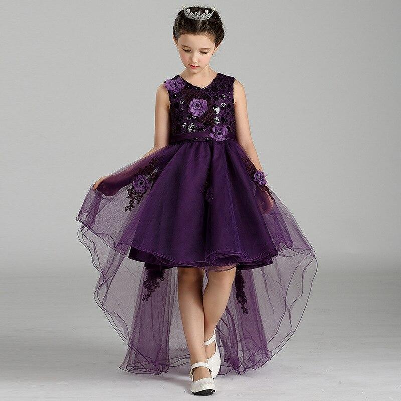 T426 New Fashion children Summer Clothes Dress embroidered flowers Princess Dress Girls Wedding Dress