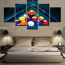 HD Printed Modular Canvas Poster 5 Panels Snooker Pool Painting Frame Wall Art Living Room Home Decor Sports Billiards Pictures