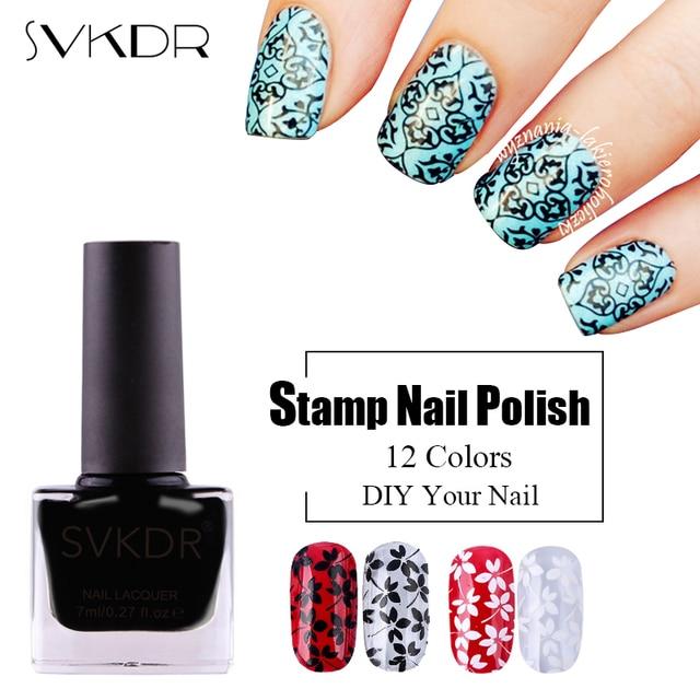 Svkdr 7ml Stamp Nail Polish Stamping Polish Nail Art 12 Colors