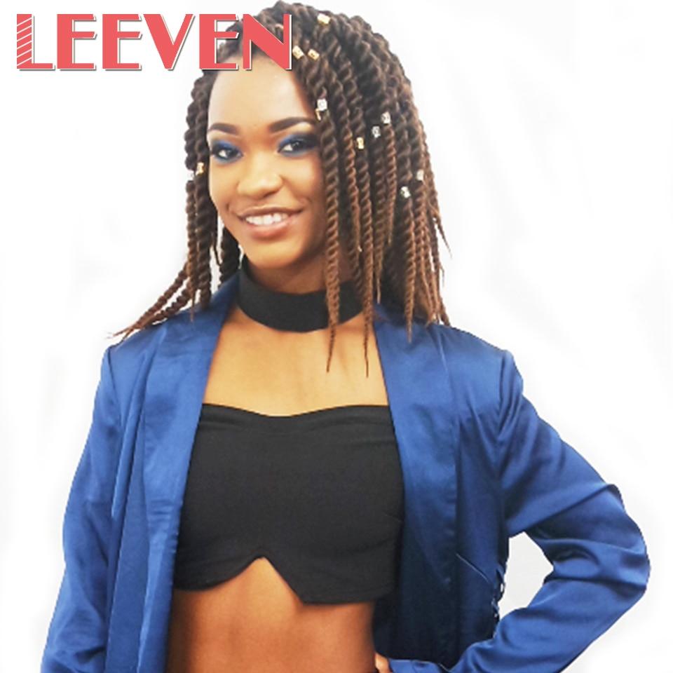 Leeven 2PCS Havana Twist Crochet Braid Hair High Temperature Fibre Synthetic Braiding Hair Black Ombre Burgundy 12'' 2X Twist