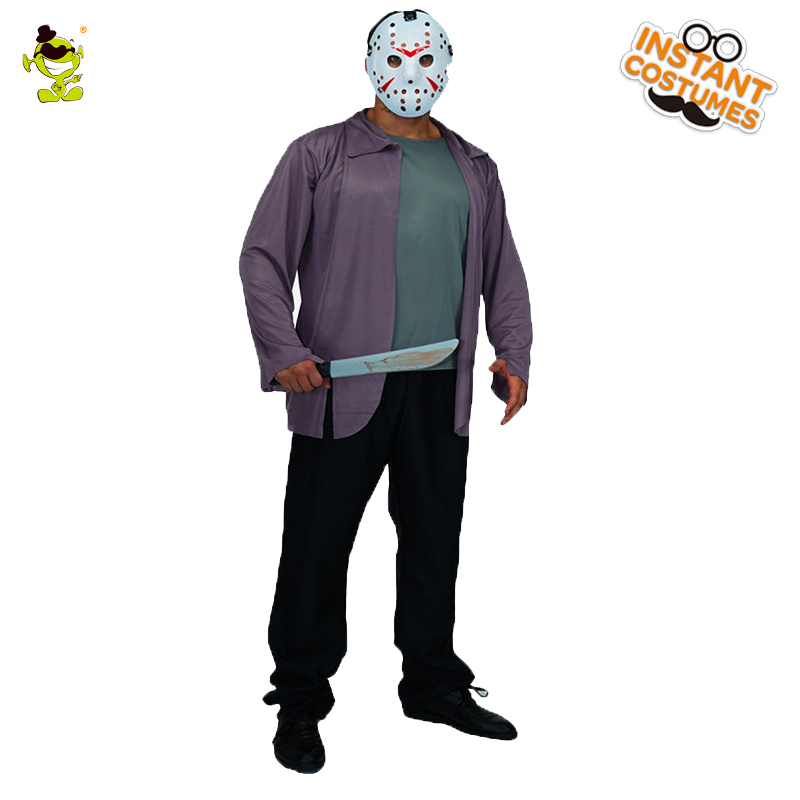 17c408cd892 Men s Halloween Jason killer costume cosplay clothes horror killer Friday  the 13th carnival party role play