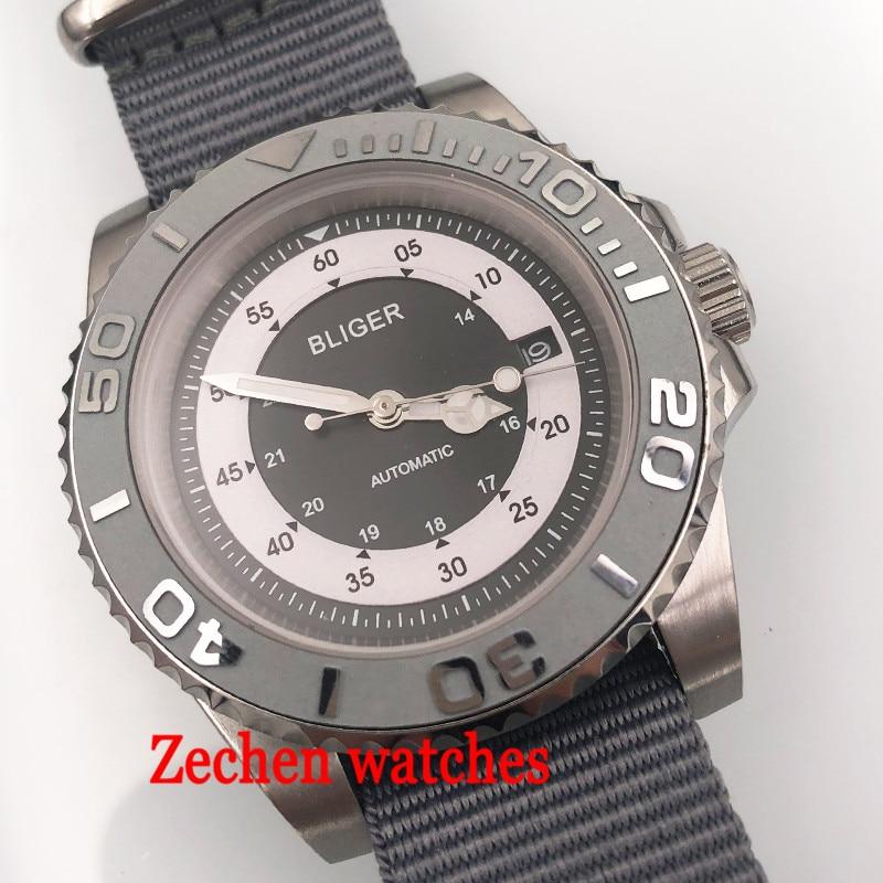 лучшая цена 40mm Bliger men watch gray sterile dial mens watch Gray caremic sapphire glass automatic wristwatch sliver case