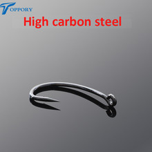 Toppory 10PCS/Bag High Quality High Carbon Steel Hooks For Carp Fishing Black Barbed Strong Stiff Hooks Carp Fishing Tackle Tool