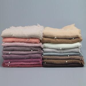 Image 2 - สุภาพสตรีแฟชั่นฟองฝ้ายลูกปัดริ้วรอยผ้าพันคอShawl Plain Crumple Pearl Wrap Foulard PashminaมุสลิมHijab 190*100 ซม.
