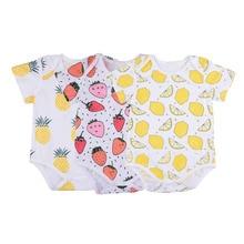 2016 Cute Cotton Baby Girl Bodysuits Fruit Prints Soft Newborn Infant Baby Boy Clothes Summer Clothing Wear 3-18M
