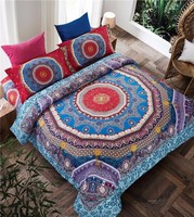 Jeefttby High Quality Textile Luxury Bohemia Mandala Printing 4pcs Bed Set Queen Size Bedlinen Bedclothes Bedding Sets Bed Sheet