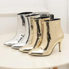 e714549e9 Famosa Marca Fina Sapatos de Salto Alto Mulheres Botas Chelsea Bling  Glitter Ankle Boot Mulher Ouro/Prata Botines Mujer 2018 git.