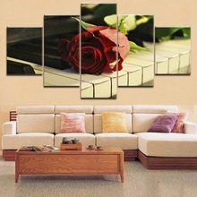 5 Panels HD Printing Pieces Musical Instruments Piano And Red Roses Painting Type Poster Home Decor Living Room Framework