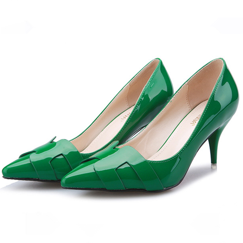 2016 New Women Pumps Fashion High Heels Shoes Thin Heel H Middle Green Color Pointed Womens High-Heeled G217