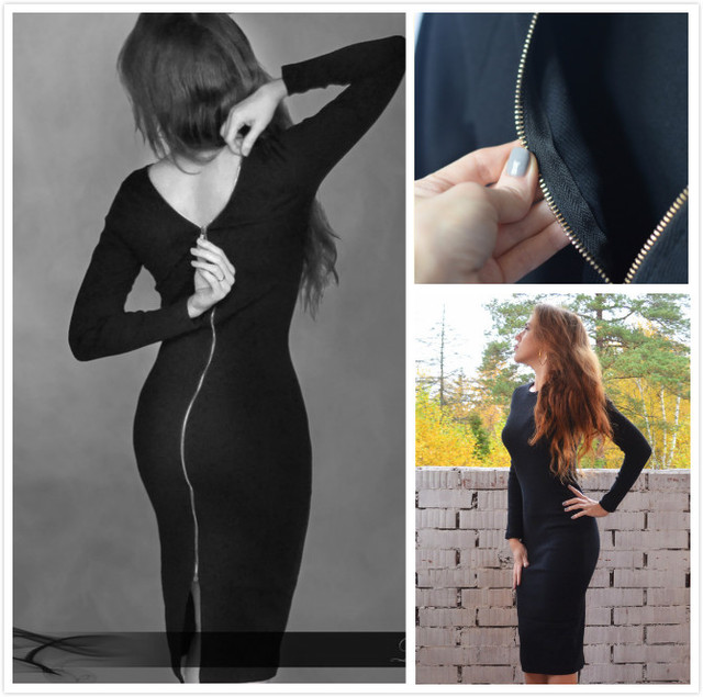 Young17 Autumn Dress Women 2018 Club Black Backless Zipper Office Sexy Clothes Knitted Party Winter Fall Bodycon Ladies Dress 4