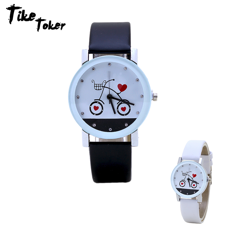 TIke Toker,New Fashion Love Bike Couple Watches Suitable For Luxury Women Dress & Casual Sports Men Round Buckle Leather Watches