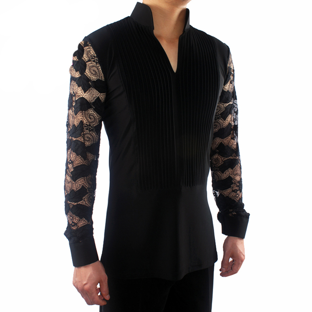 2018 New Ballroom Latin Dance Shirts Male Black Long Sleeve V Collar Shirt Men Samba Cha Cha Dancing Tops Performance Wear N7026