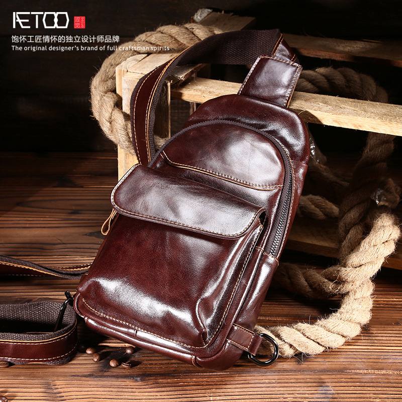 ФОТО New fashion men chestnut head layer of cowhide oil wax high-end casual leather male bag oblique tide package