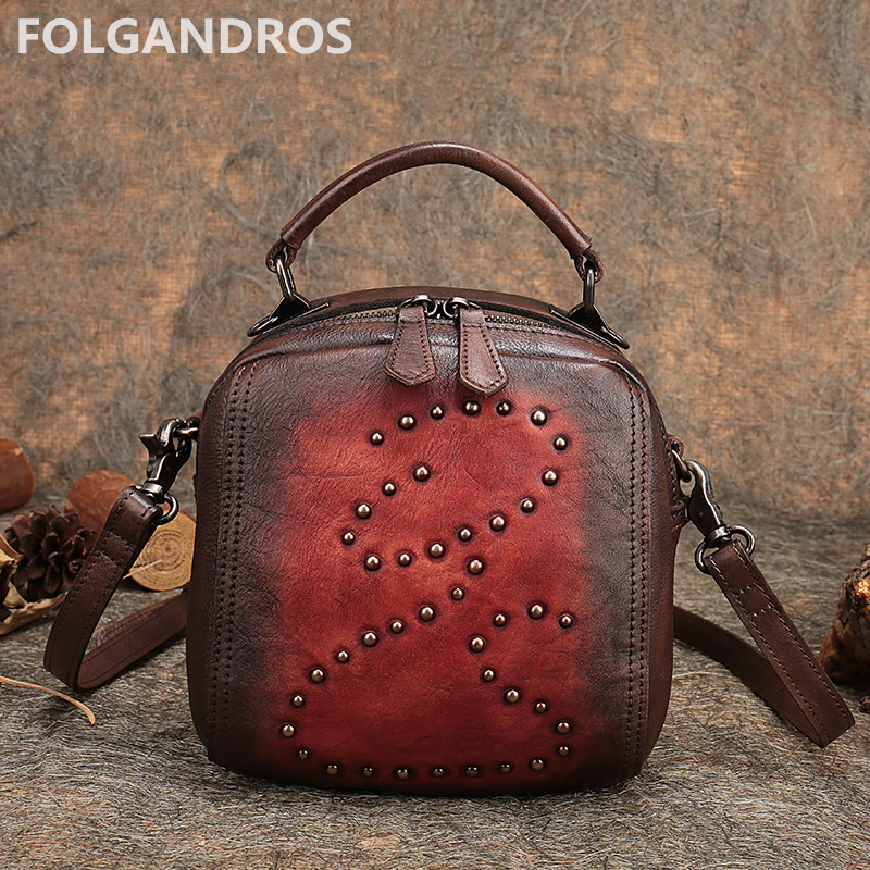 New Women Handbags Original Brand Genuine Leather Vintage Casual Rivet Shoulder Bag Tote Designer Cowhide Messenger Bags Bolsa women genuine leather casual real cowhide tote bags vintage soft small trunk shoulder handbags solid tassels bolsa feminina