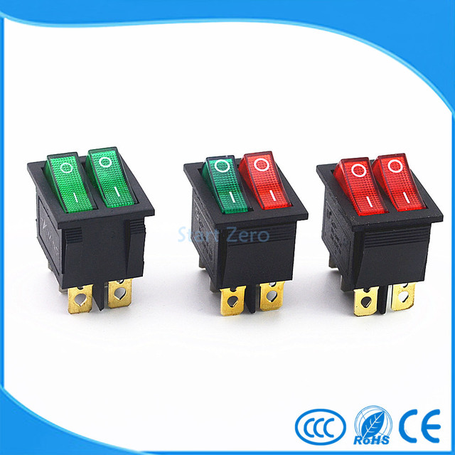 KCD2 Double Boat Rocker Switch 6 Pin On-Off With Green Red Light 20A 125VAC
