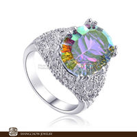 New Vintage In Fashion Jewelry Sets Mystic Topaz 925 Sterling Silver Ring R0293