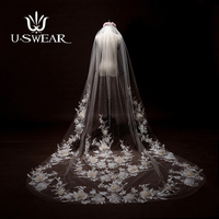 U SWEAR 2018 Hot Sale One Layer Wedding Veils White Ivory Bridal Veils For Wedding Dress 280 CM Long 180 CM Wide Cathedral Veil