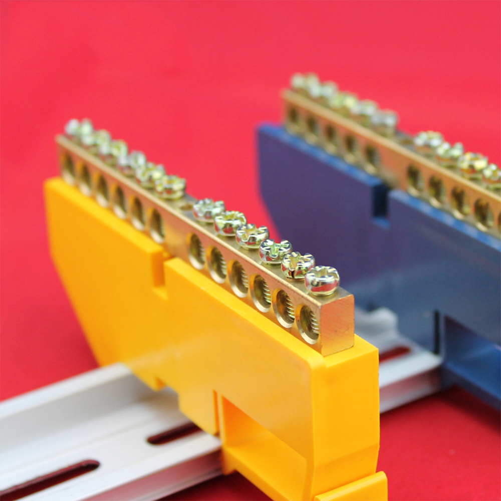 1pc Bridge Design Line 6 8 10 12 Positions 6x9 Copper Grounding Strip Terminal Block Connector Distribution cabinet Blue Yellow image