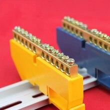 1pc ponte linha de design 6 8 10 12 posições 6x9 tira de aterramento de cobre bloco terminal conector gabinete de distribuição azul amarelo