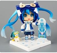 10cm Japanese anime figure Cute Nendoroid 2016 Hatsune Miku Snow Miku 570# PVC Action Figure Collectible Model Toy