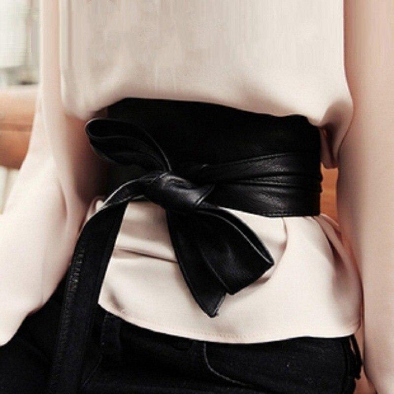 Ceinture en cuir véritable pour femme femme all-match femmes Corset ceinture sans boucle large nœud Tieclasps peau de vache Cummerbund