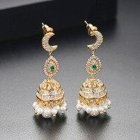 2018 Big Fashion Long Gleaming Ladies Earrings Cubic Zirconia Drop Earrings Crystal Women Moon Pearl Chandelier