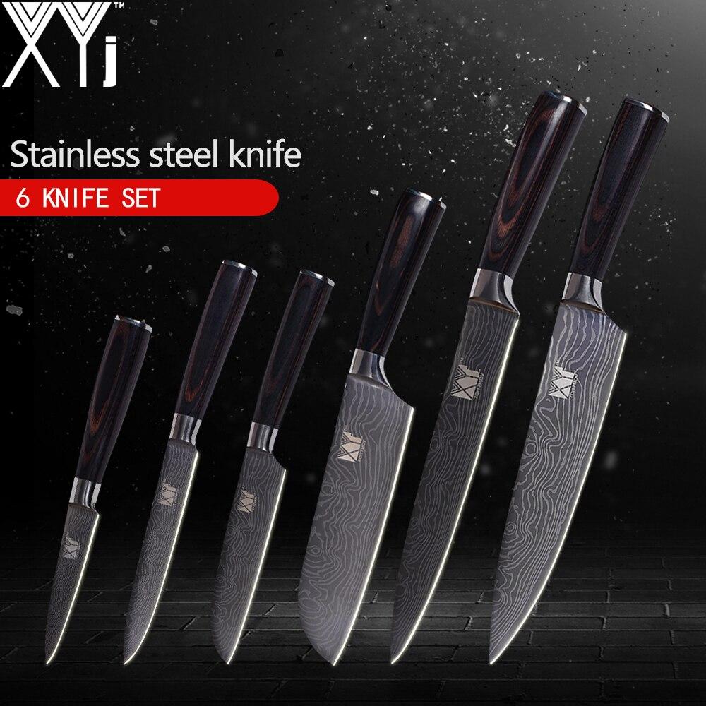 XYj Couteaux De Cuisine De Haute Carbone 7Cr17 Inoxydable Couteau En Acier Damas Veines Motif Cuisson Outils 3.5, 5, 5, 7, 8, 8 pouce 6 pcs Ensemble