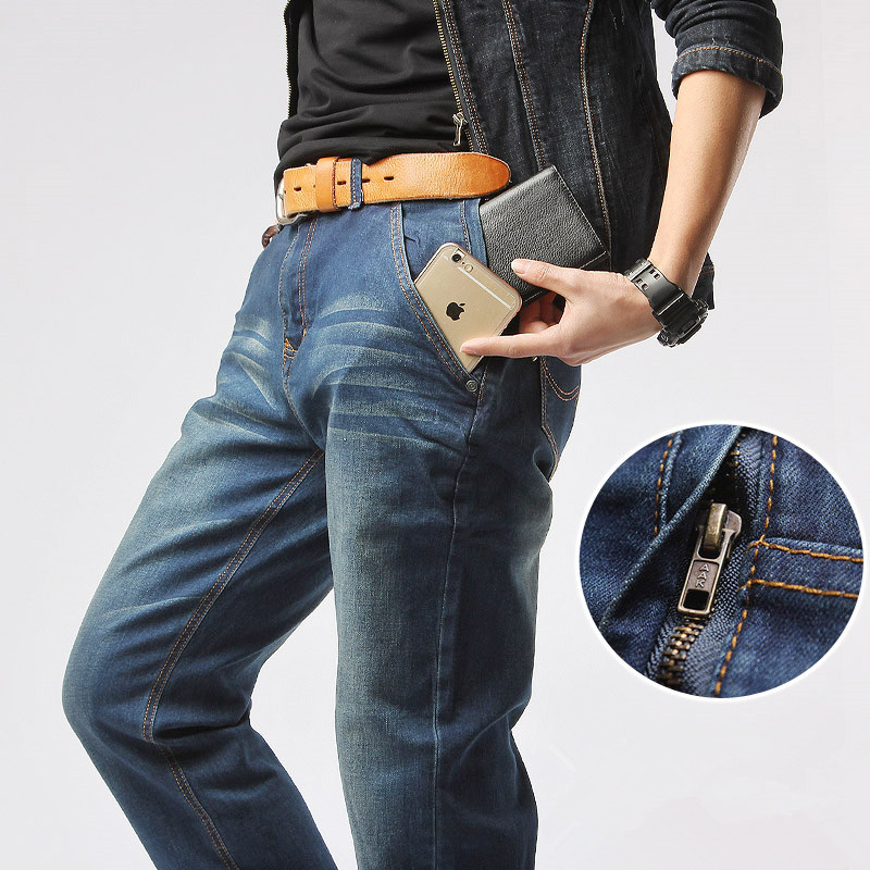 Mr.marke Brand Jeans Men's Clothing 75% Cotton Loose Elasticity Zipper 2016 New Straight Mens Jeans Big Size 29-40 42