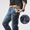 Mr. merc Marca calças de Brim Dos Homens de Roupas 75% de Algodão Solto Elasticidade Zipper 2016 Nova Linha Reta calças de brim Dos Homens Tamanho Grande 29-40 42