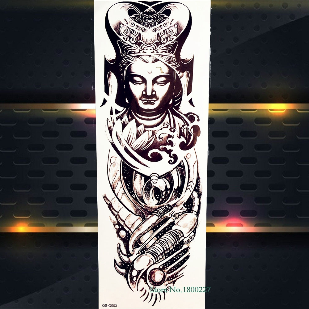 Us 173 Black Buddha Temporary Tattoo Stickers Men Girl Women Body Art Shoulder Tatoo Back Water Transfer Full Arm Tattoo Paste Pqs Q003 In