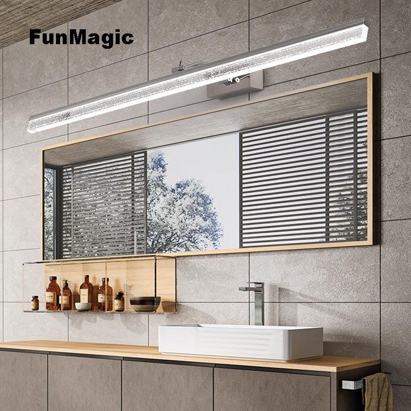 Modern Stainless Steel Aluminum LED Wall Lamp Bathroom Waterproof Mirror Cabinet Vanity Front Mirror Light Dresser Lighting New