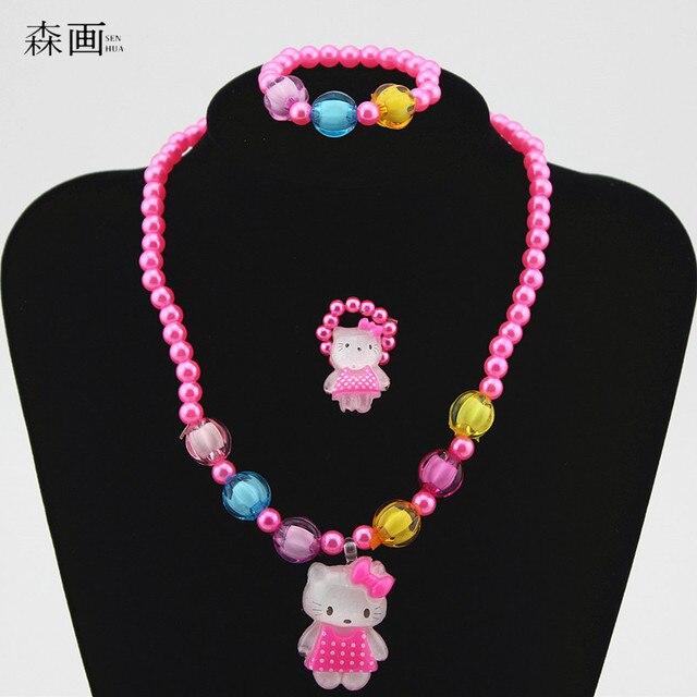 Fashion Baby Girl Children Imitation Pearl Jewelry Set Kids Cartoon