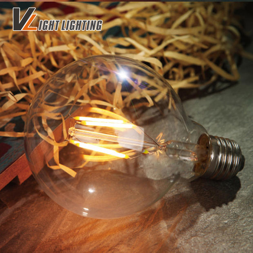 G125 Vintage LED EdisFilament Light Bulb Big light bulb E27 clear glass indoor lighting lamp AC220V 2W 4W 6W 8W 220V retro lamp global light bulb edison indoor lighting lamp g125 big bubble ball filament led bulb e27 base warm white clear glass in stock vr