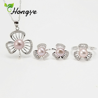 Hongye Jewelry Pearl Set Hollow Floral Silver 925 Stud Earrings Ring Fashion Silver Pendent Necklaces Bridal Wedding Jewelry Kit