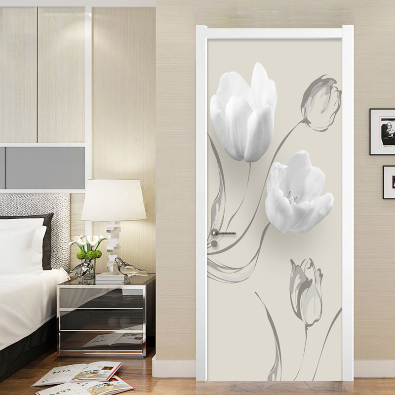 PVC Self-Adhesive Waterproof Door Sticker Modern White Flowers Mural Wallpaper 3D Living Room Bedroom Home Decor Wall Stickers
