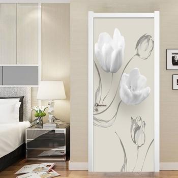 цена на PVC Self-Adhesive Waterproof Door Sticker Modern White Flowers Mural Wallpaper 3D Living Room Bedroom Home Decor Wall Stickers