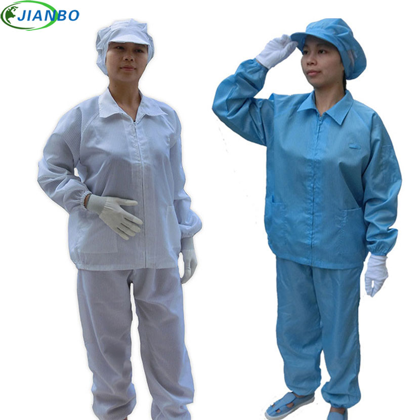 Anti Static Clothes And Cleanroom Clothes Work Clothes Safety Vest Stripe Clothes Color Blue And White Suit Include Work Pants ...