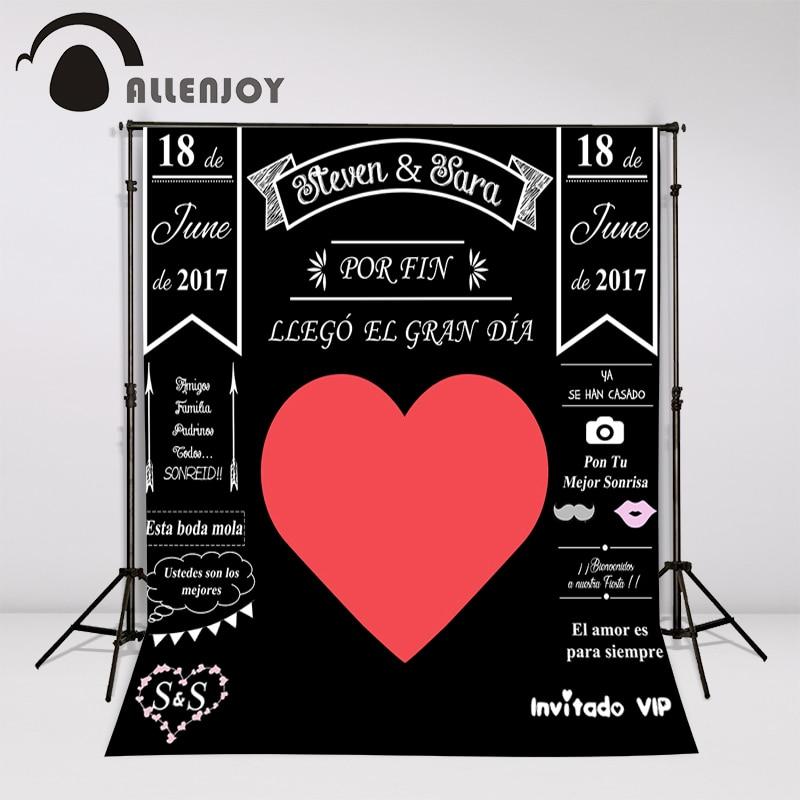 Allenjoy Custom blackboard Wedding Background Idea Chalk big heart Party Background photo booth diy photocall Excluding