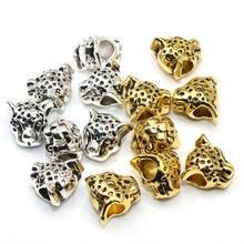 Леопардовые бусины серебристого цвета, 12 мм, тибетский серебристый цвет, Европейские Бусины с разделителем, большое отверстие для шарм, изг...