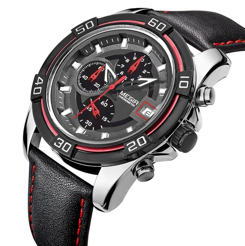 Топ Элитный бренд megir Для мужчин Спортивные часы Для мужчин кварцевые часов Хронограф 6 руки часы Человек Кожаный ремешок Военная Униформа н...