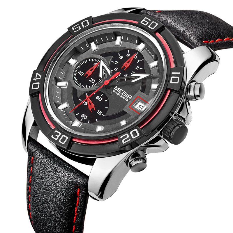 Prix pour Top marque de luxe MEGIR hommes sport montres hommes Quartz heures chronographe 6 mains horloge homme bracelet en cuir militaire montre - bracelet