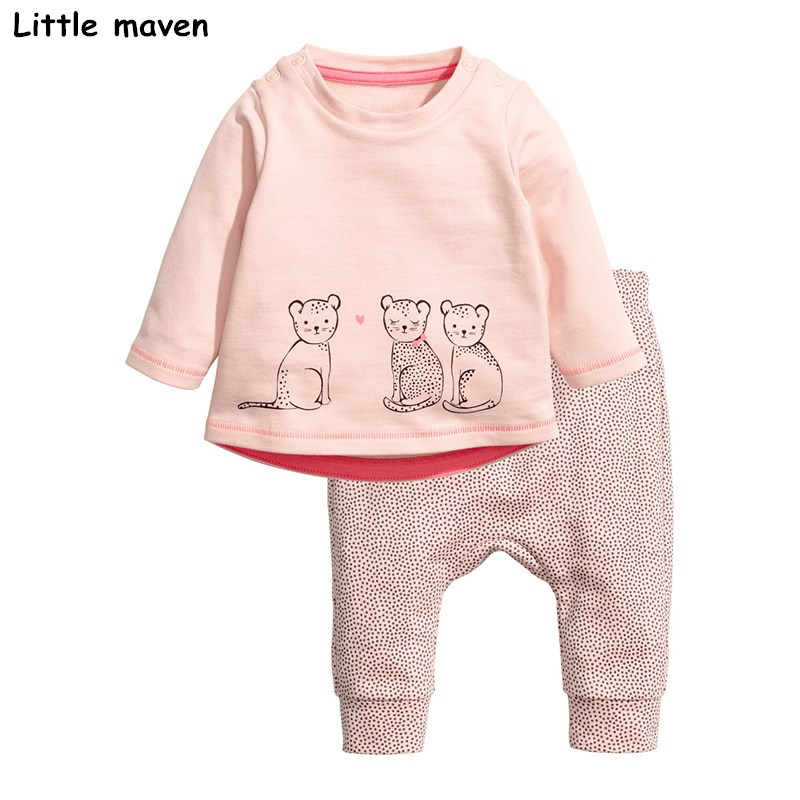 Little maven children's clothing sets 2018 new autumn Girls Cotton brand long sleeve cat print pink t shirt + dot pants 20169 little maven brand new girls autumn spring long sleeved o neck fashion rabbits printed cotton cute casual dresses