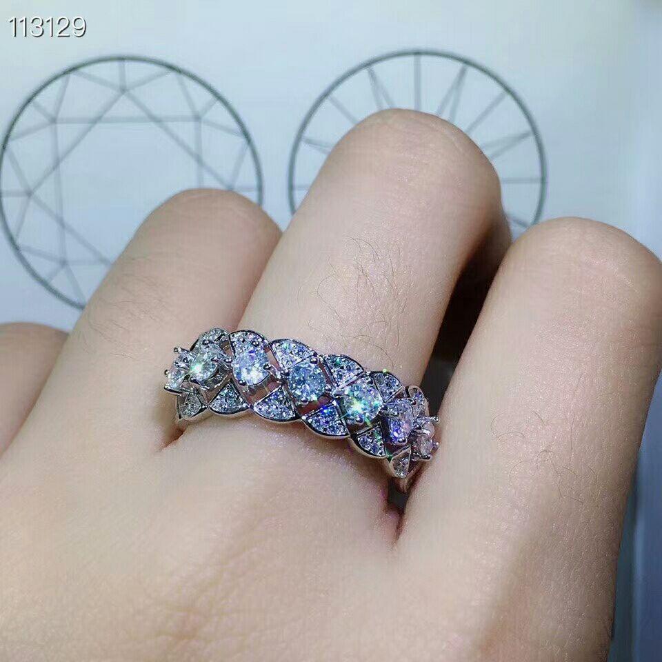 MeiBaPJ Glittering Natural Moissanite Gemstone Classic Simple Ring for Women 925 Sterling Silver Fine Wedding