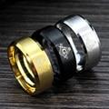 MeMolissa 3Colors Stainless Steel Mason Ring 8MM in Width Gold/Silver/Black Masonic Finger Ring