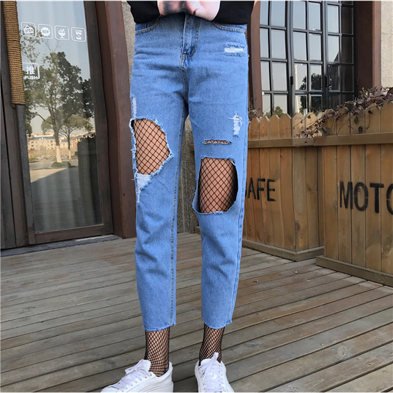 2017 Summer New Fashion Denim Solid Ripped Hollow Out Harajuku Vintage Sexy Casual Pencil Skinny Women High Waist Jeans harajuku new fashion women casual high waisted casual holes skinny jeans