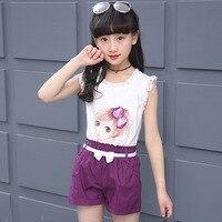 Summer 2018 Sleeveless Casual Girl Set Slim Fit Princess Sets Girls Cotton White Lace Top Belt Red Kids Shorts Ensemble Fille