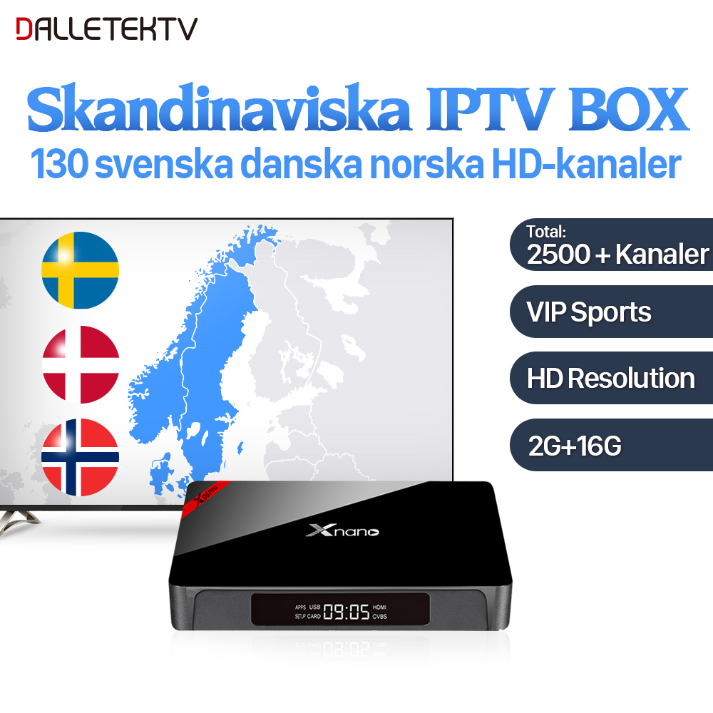 Dalletektv Xnano Android IPTV Sweden Box S905X 2G 16G with 2500+ IPTV Europe Germany UK Spain IPTV Subscription 1 Year IUDTV android 6 0 smart set top tv box t95n with iptv 1 year iptv subscription free1350 iptv europe iptv sweden xx chs with media play
