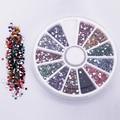 Hot 2.0mm 12 Colores Glitter Arte Del Clavo Inclina Gemas de Los Rhinestones Piedras Planas Pegatinas Belleza DIY Decoraciones Rueda 67LZ