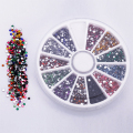 Hot  2.0mm 12 Colors Glitter Tips Rhinestones Gems Flat Gemstones Nail Art Stickers Beauty DIY Decorations Wheel    67LZ